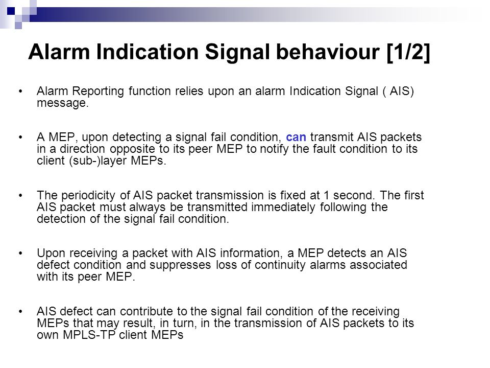 Alarm Indication Signal behaviour [1/2]